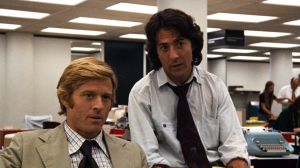 Redford and Hoffman as Woodward and Bernstein